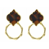 Tortoise Bamboo Spade Earrings