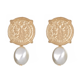 Calypso Coin Pearl Bead Nugget Earrings