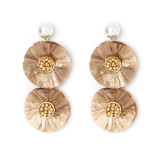 Double Raffia Pearl Earrings