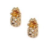 Pineapple Earrings - Gold/Clear