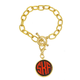 Monogrammed Toggle Bracelet with Tortoise Disc