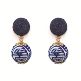 China Blue Thread Earrings