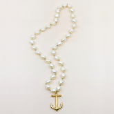 Long Pearl Bead Nugget Anchor Necklace