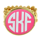 Gold Finish Monogrammed Stretch Ring